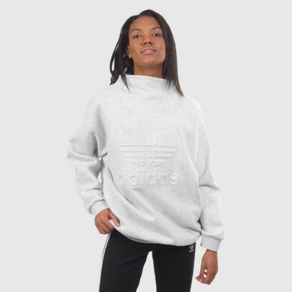 d653cf289efc adidas Tops - Adidas Originals Trefoil Sweatshirt Mock Neck Gray